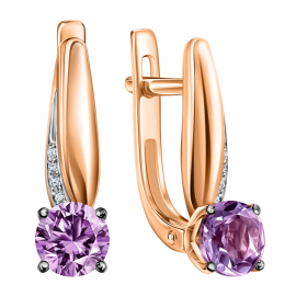 Gold earrings with amethyst and diamonds