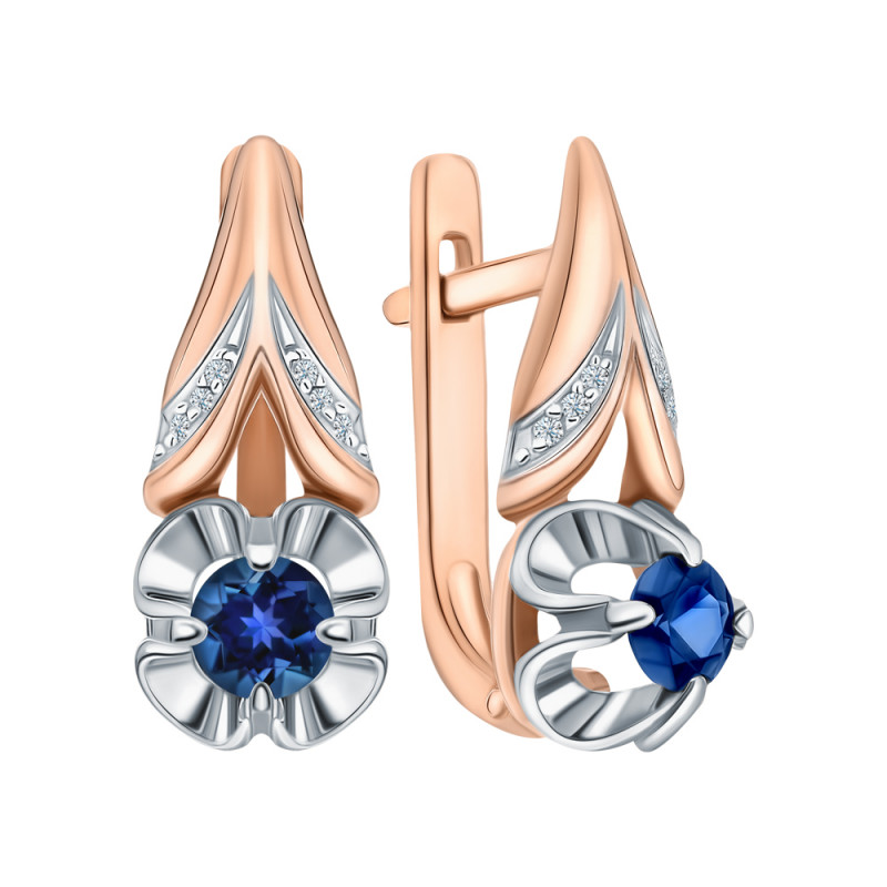 Gold earrings with sapphires and diamond